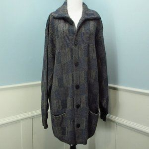 Vtg Cardigan Sweater Blue Tan Plaid Wool Italy